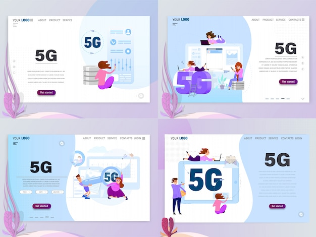 5g connected concept with characters, landing page template, flat style. isolated objects