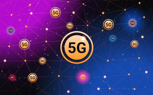 5 gデジタルワイヤレスシステム接続グローバルネットワークコンセプト高速インターネット抽象的な技術背景水平バナーの5番目の革新的な世代