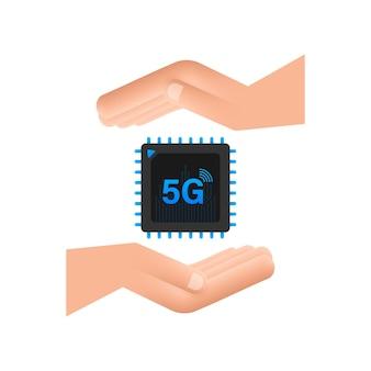 손 아이콘 기호 개념이 있는 5g esim 임베디드 sim 카드 새로운 칩 모바일 셀룰러