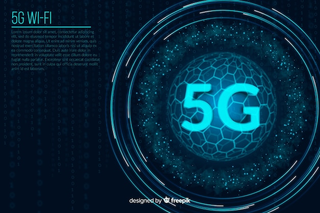 5g futuristic digits concept background