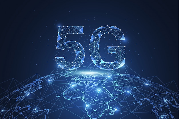 5g global network connection. polygon connect dot and line