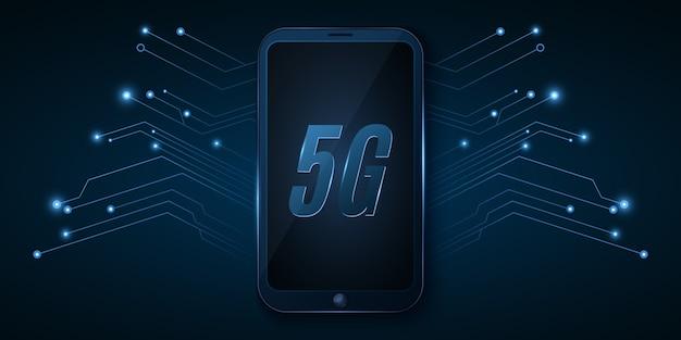 5gグローバルネットワーク。ハイテクデザイン。高速インターネットを備えた最新のスマートフォン。ネオンコンピューター回路基板。