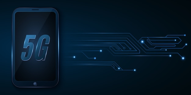 5g глобальная сеть. высокотехнологичный футуристический дизайн. современный смартфон с высокоскоростным интернетом. светящиеся компьютерные платы.