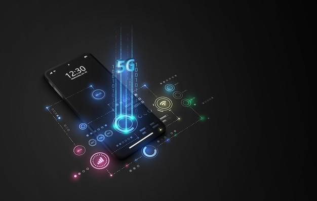 5g высокоскоростное сетевое подключение к интернету, мобильный смартфон с отображением значков 5g на виртуальном экране, соединение по всему миру.