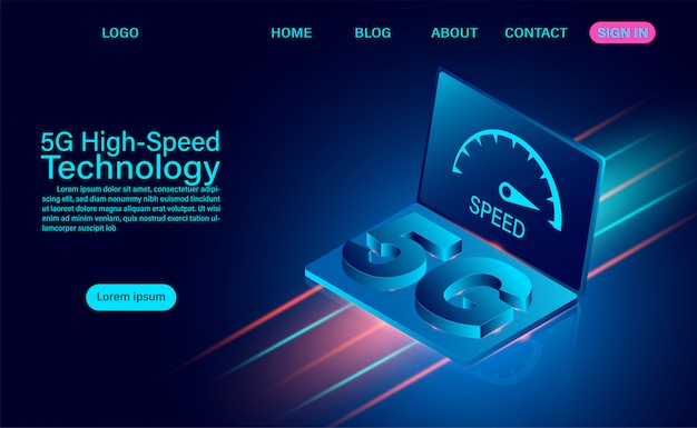 5g high-speed technology concept. network communication wireless internet. network connection fastest internet. isometric flat design  illustration