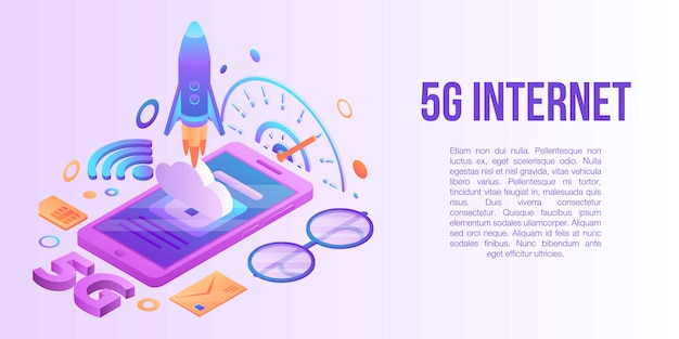 5g internet concept banner, isometric style