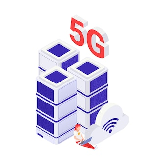 5g internet concept with woman working on laptop and data center isometric vector illustration