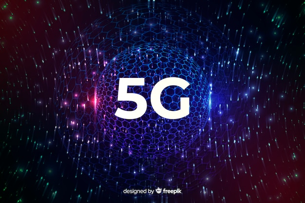 5g internet connection concept background with a disco globe