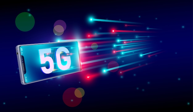 5g internet fastest connection with smartphone concept