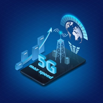 5g internet technology design element for website or banner with isometric phone on blue background. up arrow with percent and signal tower. vector illustration.