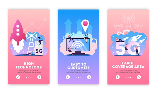 5g internet vertical banners set with editable text and flat compositions of mobile connection technology images