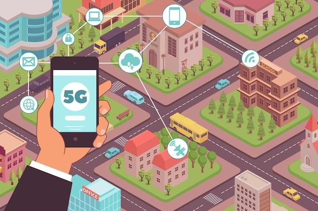 スマートフォンと都市ブロックの風景と手で5gインターネットワイヤレス構成