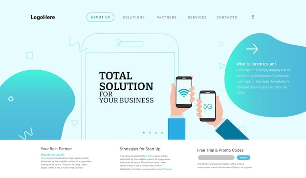 5g and iot internet of things landing page website template for internet speed concept