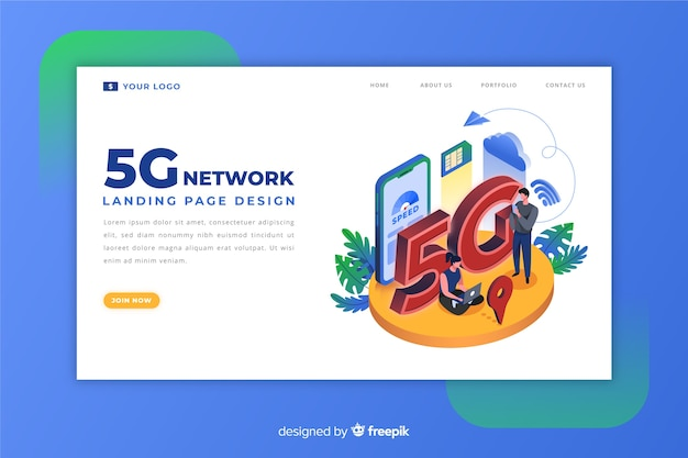 5g landing page in isometric design