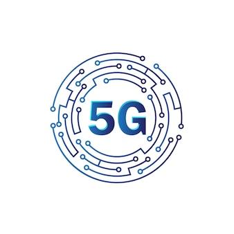 孤立した白い背景、ブロードバンド通信無線インターネットの概念の5gロゴネットワーク速度回路技術の図
