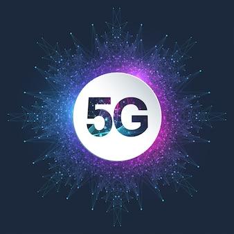 5 gロゴネットワークワイヤレスシステムとインターネットベクトルイラスト。