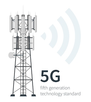 5g mast base stations illustration