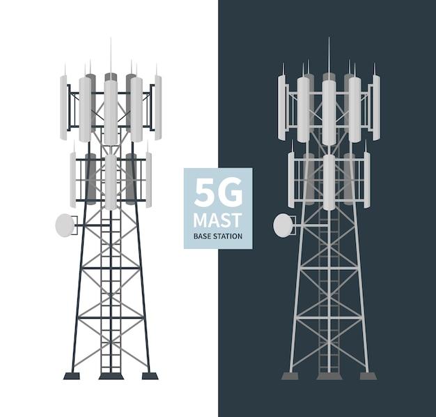 5g mast base stations set, mobile data towers, telecommunication antennas