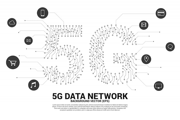 5g mobile networking from dot and line circuit board graphic style