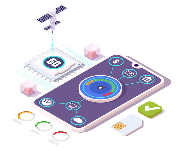 5g mobile phone with high speed internet, flat vector isometric illustration. mobile shopping, payment transactions, communication by means of 5g cellular network technology.