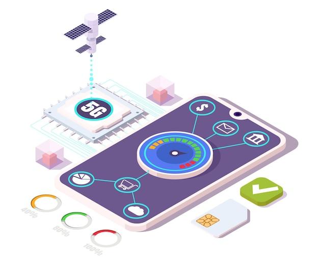 高速インターネット、フラットベクトル等角図で5g携帯電話。モバイルショッピング、支払い取引、5gセルラーネットワーク技術による通信。