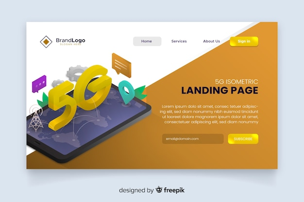 5g modern isometric landing page