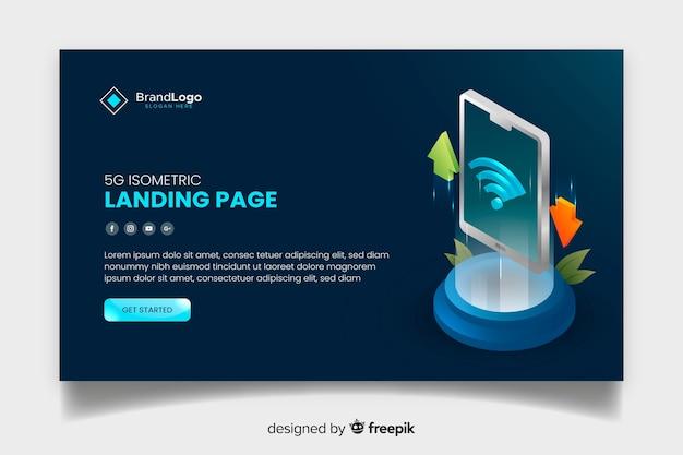 等尺性デザインの5gモダンランディングページ 無料ベクター
