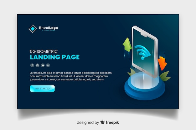 5g modern landing page in isometric design