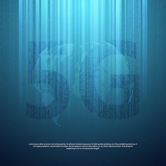 5gネットワークの背景。ビッグデータのバイナリコードフロー番号。