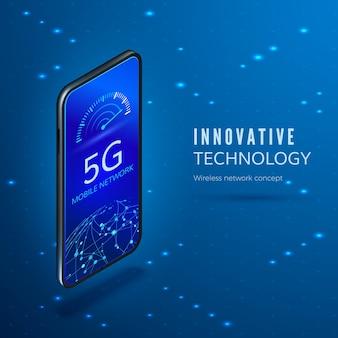 5gネットワークイノベーションテクノロジーバナー。インターネット速度インジケーターとグローバルネットワークを備えた携帯電話。