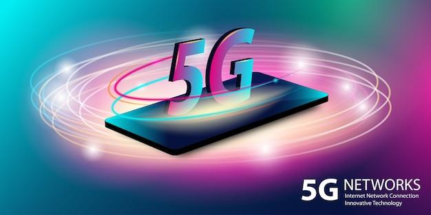 5gネットワーク。グローバルな高速インターネットブロードバンドの革新的な世代。新しいワイヤレスインターネットwifi接続。輝くネオンの抽象的な背景。