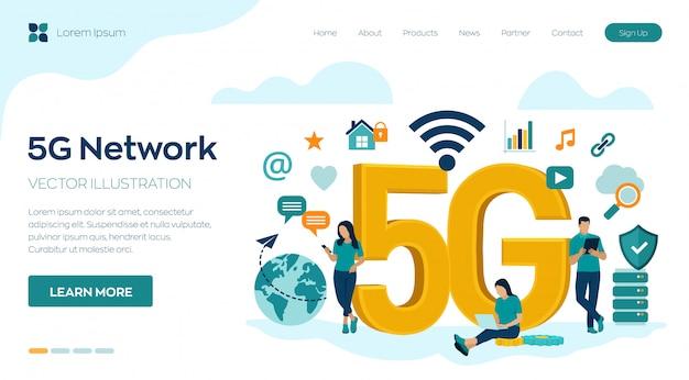 5gネットワークインターネットモバイルテクノロジーのランディングページ