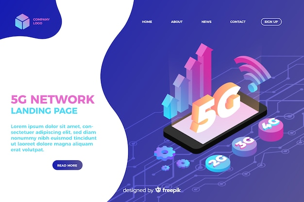 5g network isometric landing page
