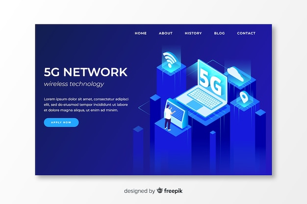 5g network  landing page in isometric design