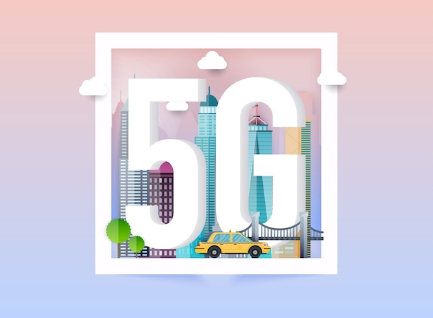 5g network logo in the smart city