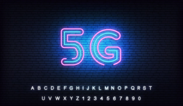 5g network neon. glowing sign of wireless internet 5g connection
