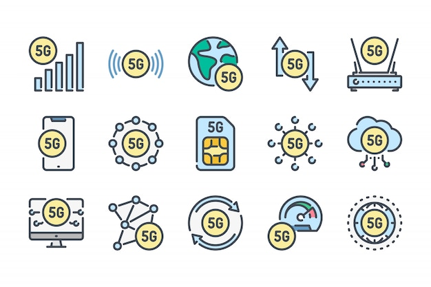 5g network related color line icon set.