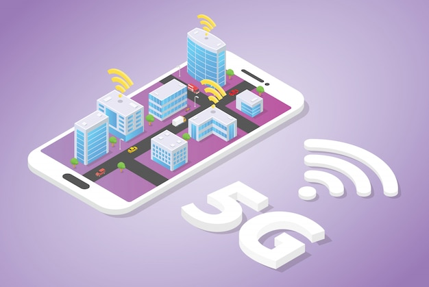 5g network on smart city building technology with wifi signal on top of smartphone