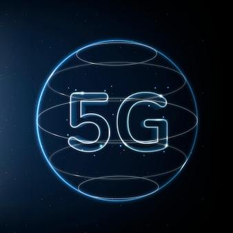 Icona della tecnologia di rete 5g in blu su sfondo sfumato
