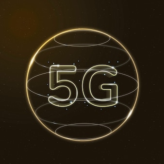5g network technology icon vector in gold on gradient background