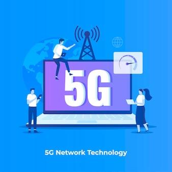 Концепция иллюстрации сетевых технологий 5g.