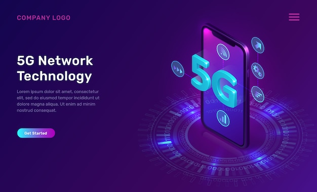 5g network technology, isometric concept
