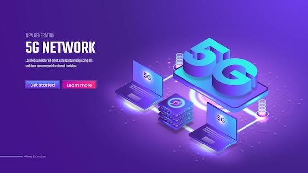 5gネットワークテクノロジーの等角ランディングページ