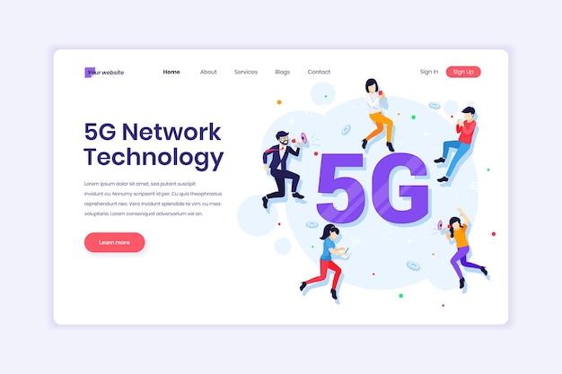 5g 네트워크 기술 고속 무선 연결을 사용하는 사람들 5g 일러스트레이션