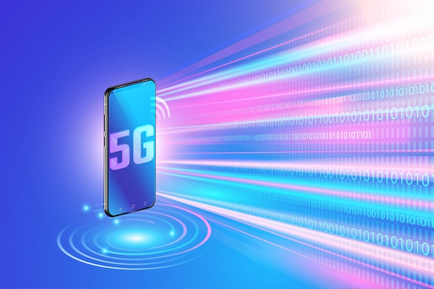 5g network technology on smartphone and high speed wireless network. next generation of internet