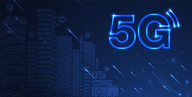 Сеть 5g беспроводной интернет wi-fi соединение умный город и концепция сети связи