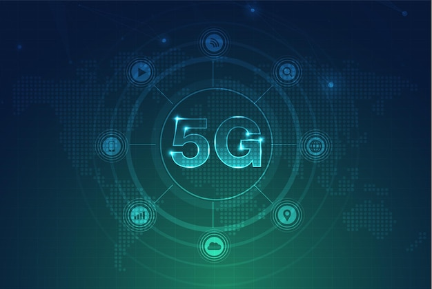 5g network wireless internet wifi connection smart city communication network concept high speed