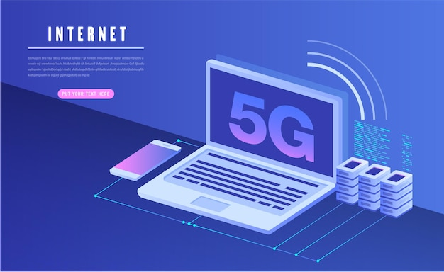 Сеть 5g беспроводной интернет wi-fi соединение концепция сети связи умный город высокая скорость