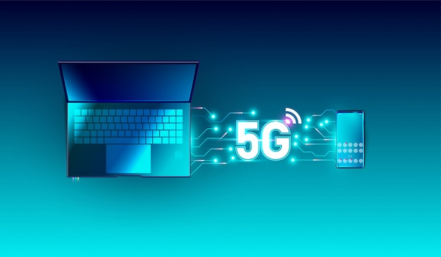 5g network wireless on smartphone and laptop