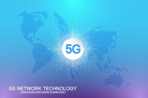 5gネットワークワイヤレスシステムとインターネット接続の背景。 5gシンボル通信ネットワーク。ビジネス技術コンセプトバナー。ベクトルイラスト